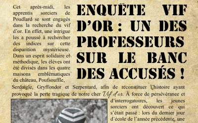 La gazette du sorcier: Poudlard, mardi 16 octobre2018
